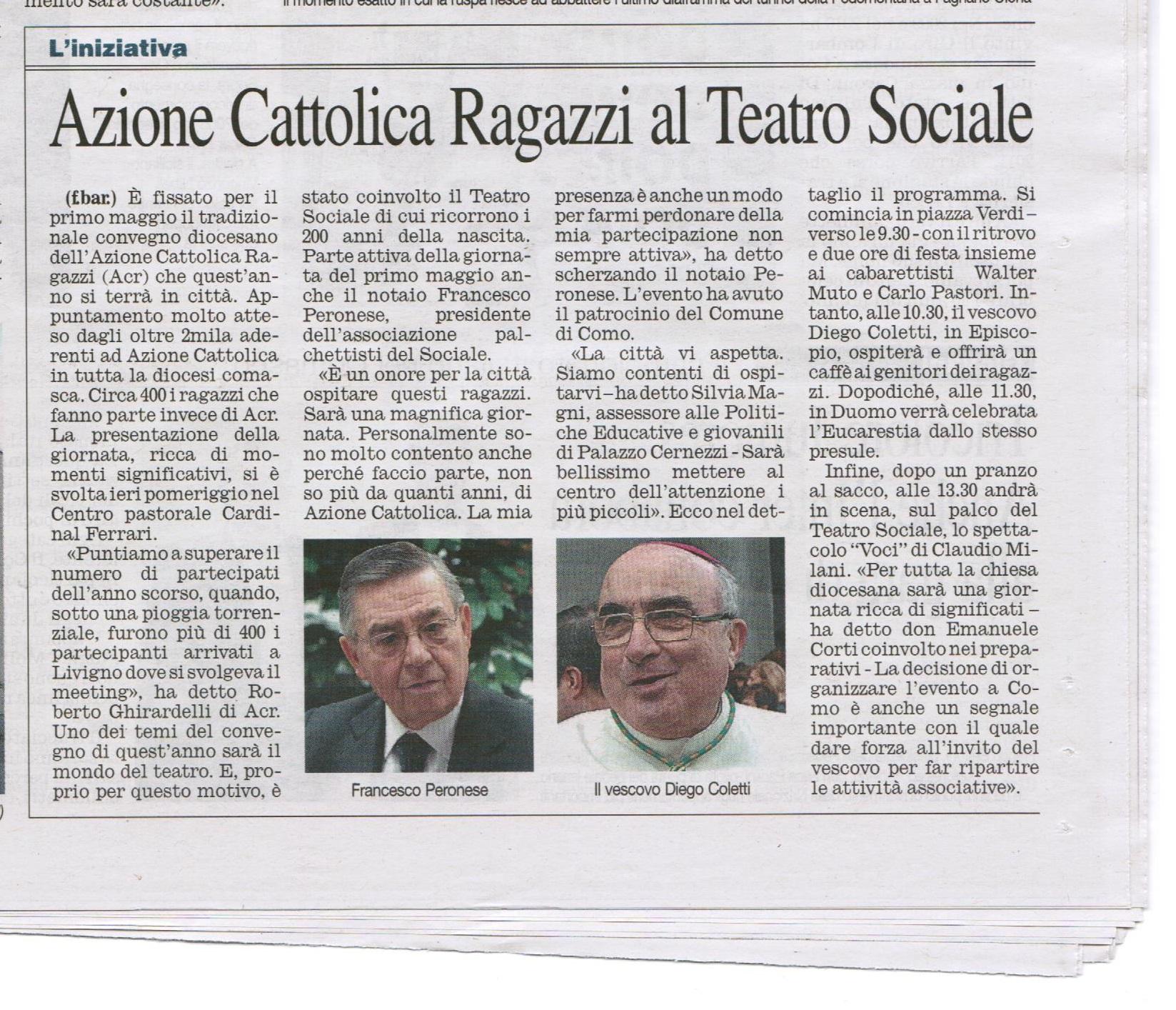 Articolo Corriere di Como