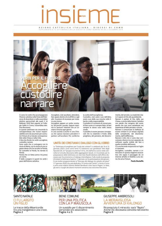 Nell'immagine la copertina del numero di dicembre di Insieme, il mensile di Ac Como. In primo piano il testo del presidente diocesano.